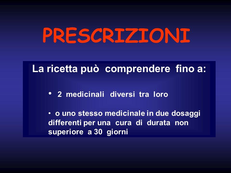 PRESCRIZIONI La ricetta può comprendere fino a: 2 medicinali diversi tra loro o uno stesso medicinale in due dosaggi differenti per una cura di durata