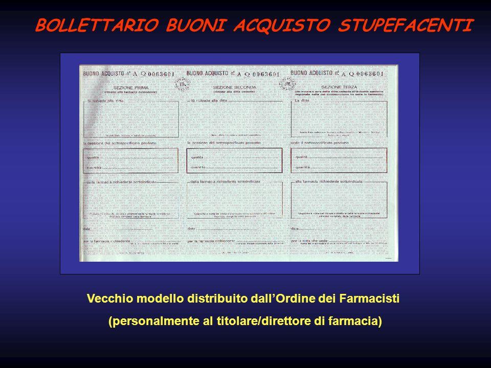 BOLLETTARIO BUONI ACQUISTO STUPEFACENTI Vecchio modello distribuito dallOrdine dei Farmacisti (personalmente al titolare/direttore di farmacia)