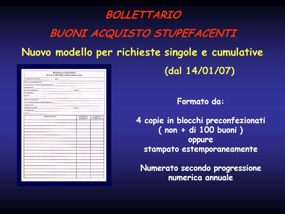 BOLLETTARIO BUONI ACQUISTO STUPEFACENTI Nuovo modello per richieste singole e cumulative (dal 14/01/07) Formato da: 4 copie in blocchi preconfezionati