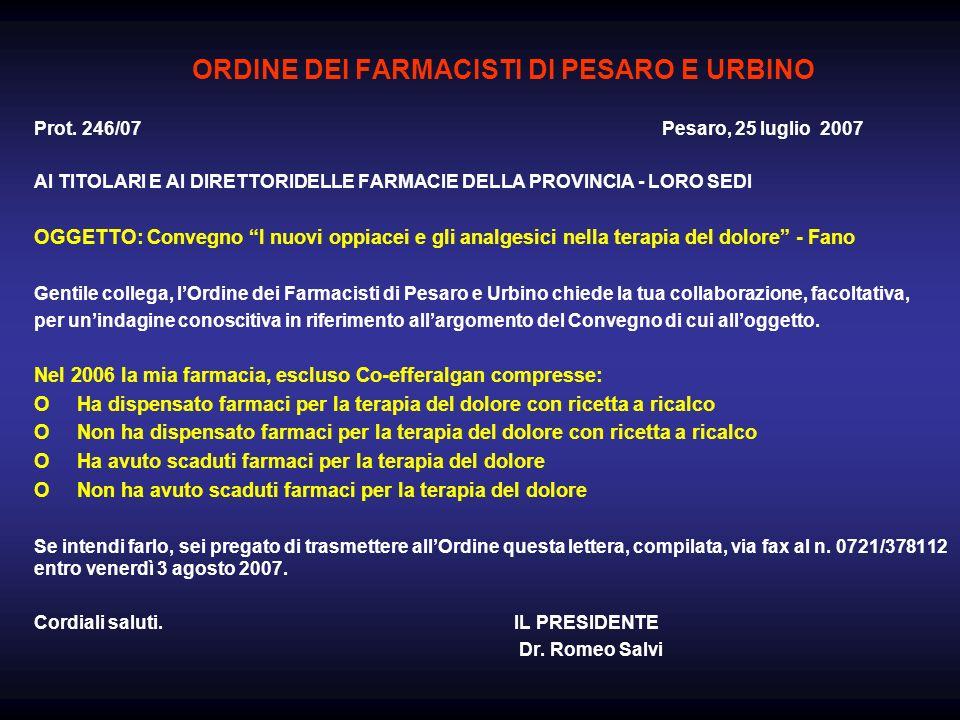 ORDINE DEI FARMACISTI DI PESARO E URBINO Prot. 246/07 Pesaro, 25 luglio 2007 AI TITOLARI E AI DIRETTORIDELLE FARMACIE DELLA PROVINCIA - LORO SEDI OGGE