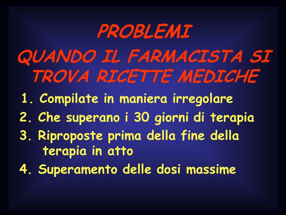 PROBLEMI QUANDO IL FARMACISTA SI TROVA RICETTE MEDICHE 1. Compilate in maniera irregolare 2. Che superano i 30 giorni di terapia 3. Riproposte prima d