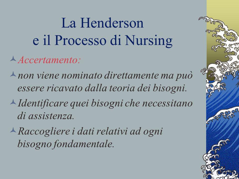 La Henderson e il Processo di Nursing Accertamento: non viene nominato direttamente ma può essere ricavato dalla teoria dei bisogni.