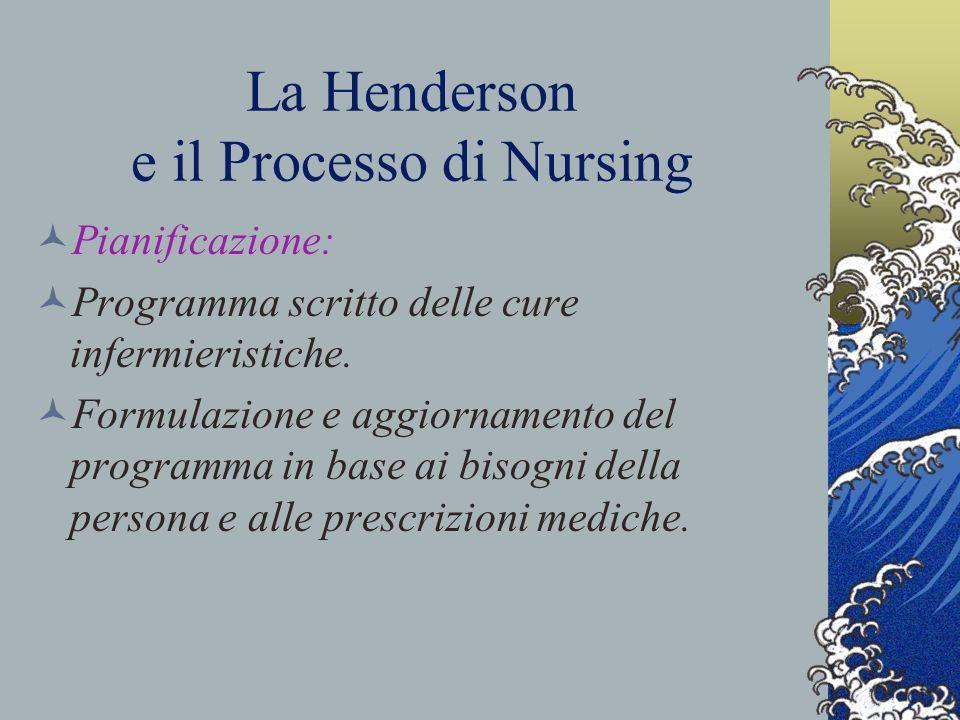 La Henderson e il Processo di Nursing Pianificazione: Programma scritto delle cure infermieristiche.