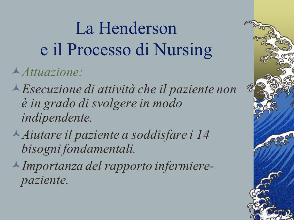 La Henderson e il Processo di Nursing Attuazione: Esecuzione di attività che il paziente non è in grado di svolgere in modo indipendente.