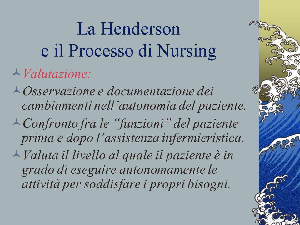 La Henderson e il Processo di Nursing Valutazione: Osservazione e documentazione dei cambiamenti nellautonomia del paziente.
