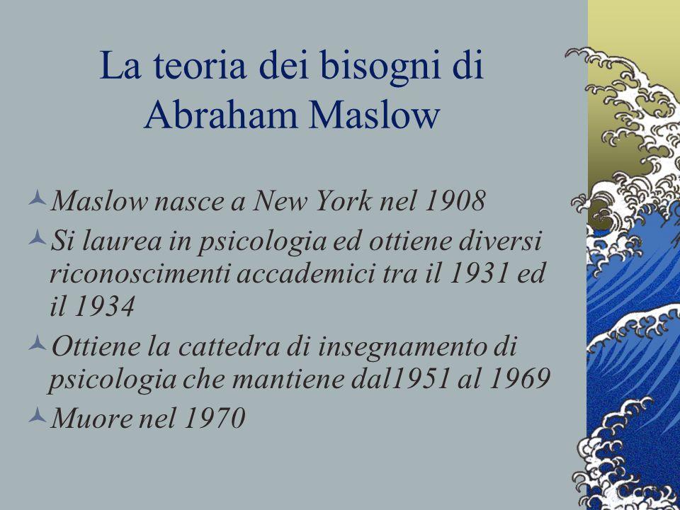 La teoria dei bisogni di Abraham Maslow Maslow nasce a New York nel 1908 Si laurea in psicologia ed ottiene diversi riconoscimenti accademici tra il 1931 ed il 1934 Ottiene la cattedra di insegnamento di psicologia che mantiene dal1951 al 1969 Muore nel 1970