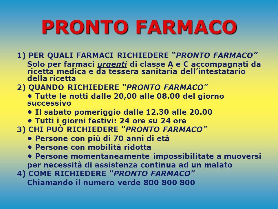 PRONTO FARMACO È UN SERVIZIO NATO DALLA COLLABORAZIONE DEL COMUNE DI PESARO CON: Ordine dei Farmacisti di Pesaro Farmacie Comunali di Pesaro Federfarm