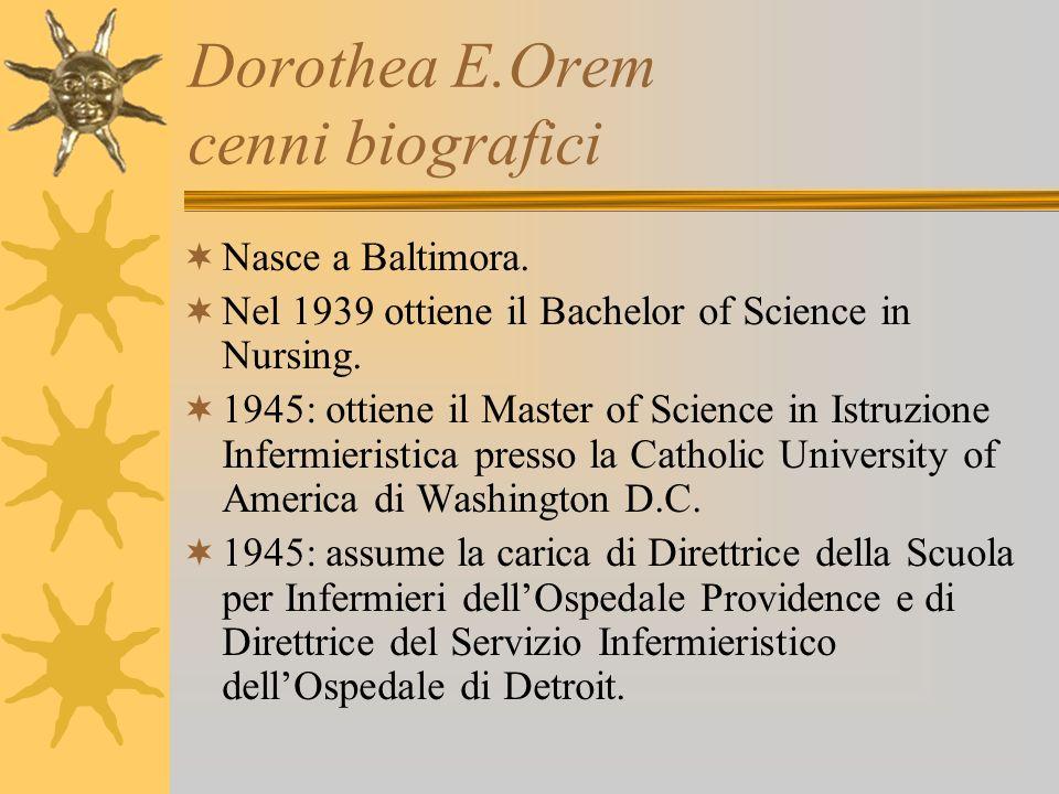 Dorothea E.Orem cenni biografici Anni 50 : assume il ruolo di consulente per enti governativi per il nursing e la formazione infermieristica.