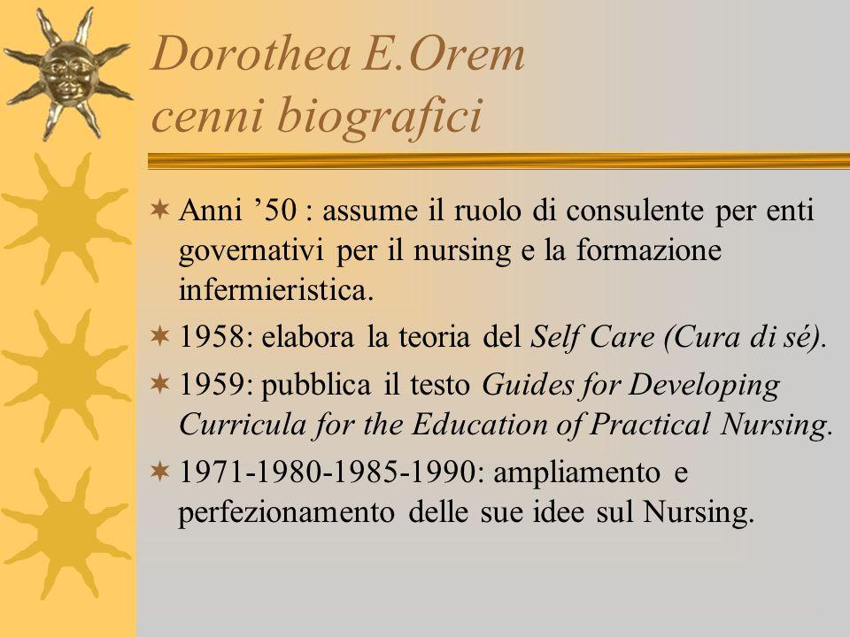 Dorothea E.Orem principi della teoria Tre concetti fondamentali : Autoassistenza o Cura di sé o Self Care.