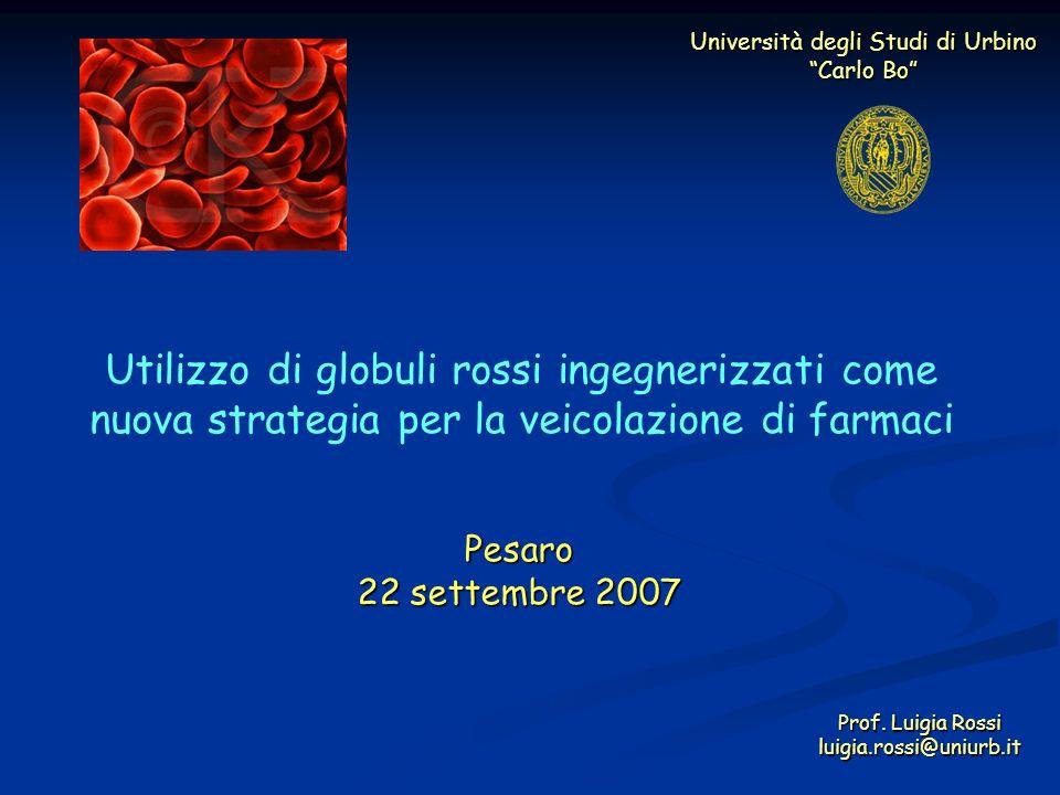 Università degli Studi di Urbino Carlo Bo Utilizzo di globuli rossi ingegnerizzati come nuova strategia per la veicolazione di farmaci Prof. Luigia Ro