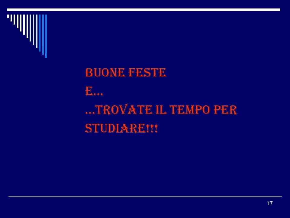 17 BUONE FESTE E… …TROVATE IL TEMPO PER STUDIARE!!!