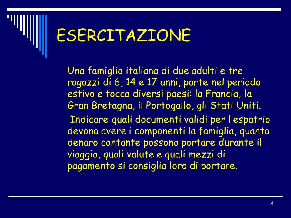 4 ESERCITAZIONE Una famiglia italiana di due adulti e tre ragazzi di 6, 14 e 17 anni, parte nel periodo estivo e tocca diversi paesi: la Francia, la G
