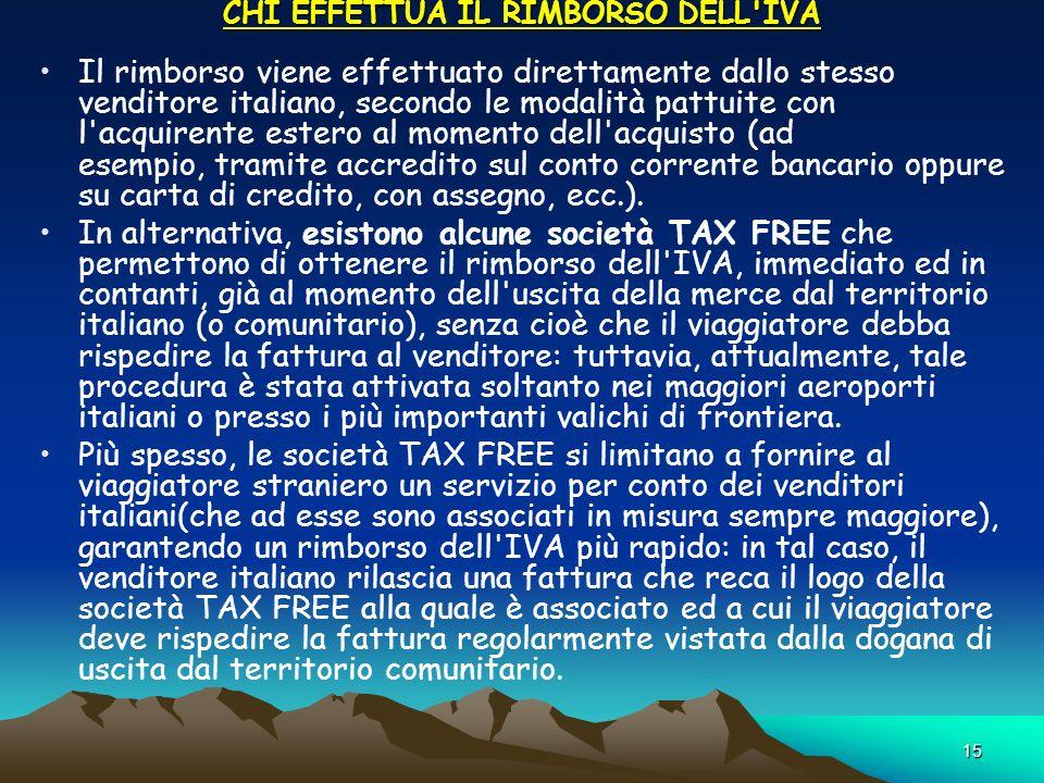15 CHI EFFETTUA IL RIMBORSO DELL'IVA CHI EFFETTUA IL RIMBORSO DELL'IVA Il rimborso viene effettuato direttamente dallo stesso venditore italiano, seco