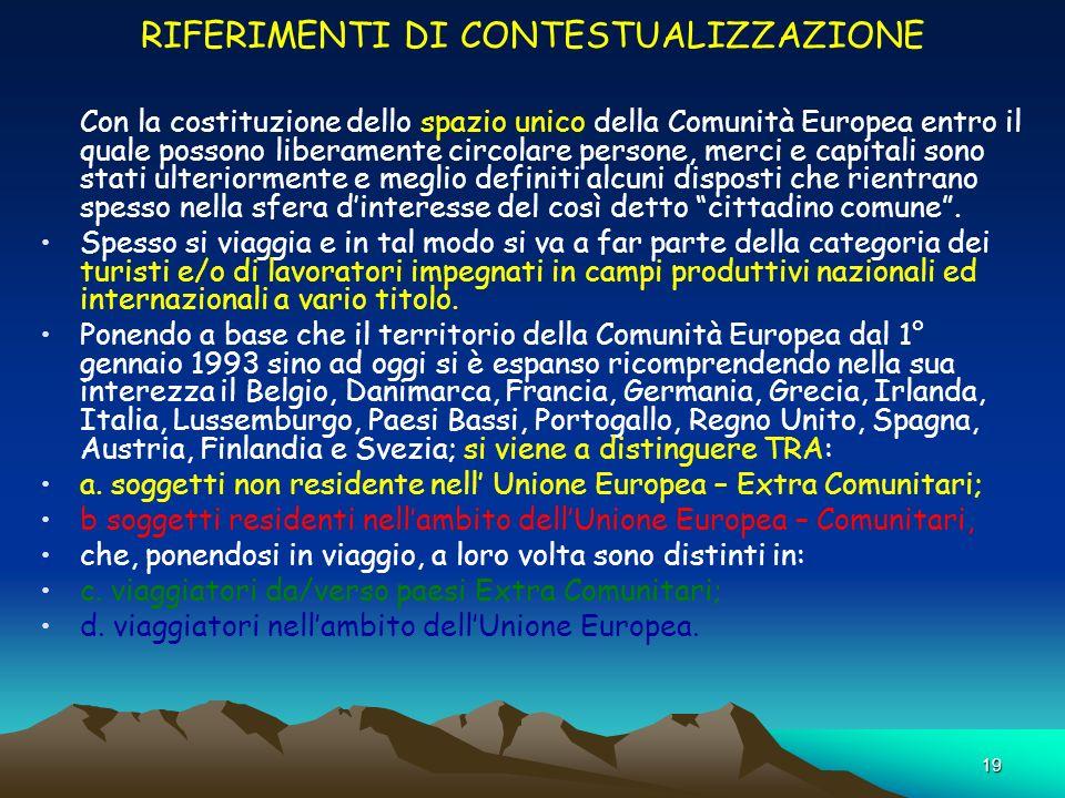 19 RIFERIMENTI DI CONTESTUALIZZAZIONE Con la costituzione dello spazio unico della Comunità Europea entro il quale possono liberamente circolare perso
