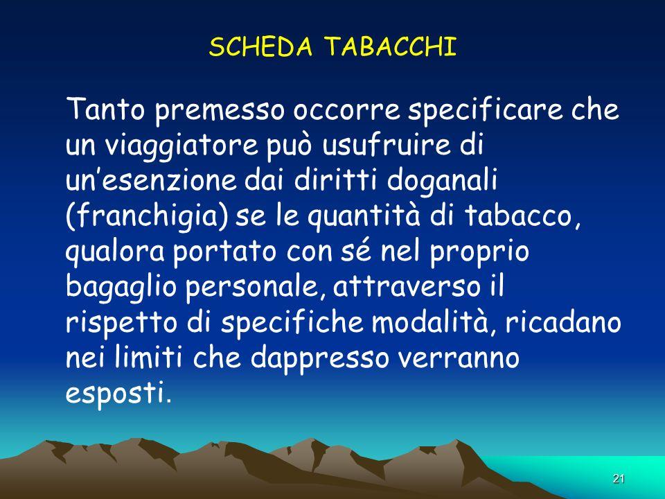 21 SCHEDA TABACCHI Tanto premesso occorre specificare che un viaggiatore può usufruire di unesenzione dai diritti doganali (franchigia) se le quantità