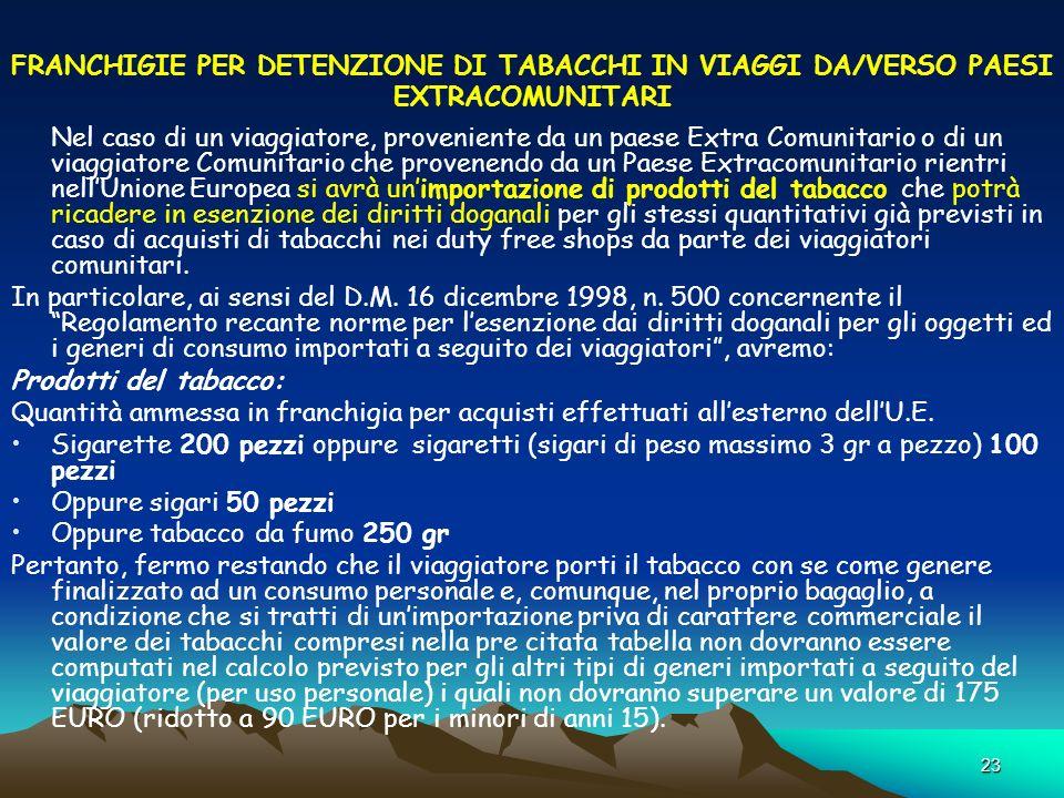 23 FRANCHIGIE PER DETENZIONE DI TABACCHI IN VIAGGI DA/VERSO PAESI EXTRACOMUNITARI Nel caso di un viaggiatore, proveniente da un paese Extra Comunitari