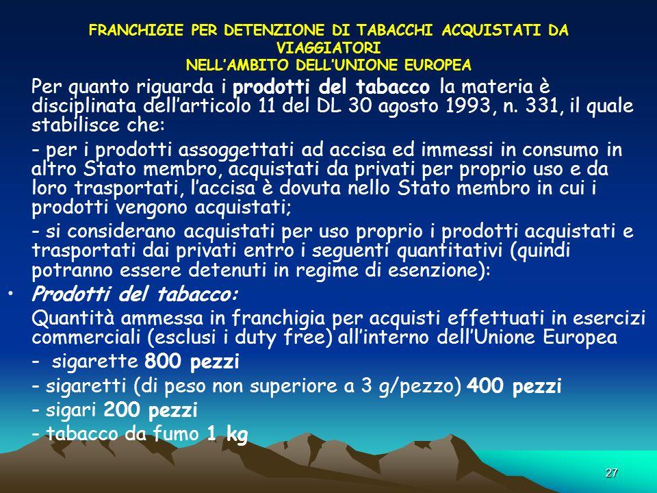 27 FRANCHIGIE PER DETENZIONE DI TABACCHI ACQUISTATI DA VIAGGIATORI NELLAMBITO DELLUNIONE EUROPEA Per quanto riguarda i prodotti del tabacco la materia è disciplinata dellarticolo 11 del DL 30 agosto 1993, n.