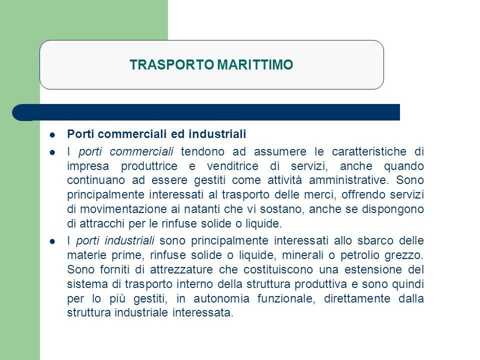 TRASPORTO MARITTIMO Porti commerciali ed industriali I porti commerciali tendono ad assumere le caratteristiche di impresa produttrice e venditrice di