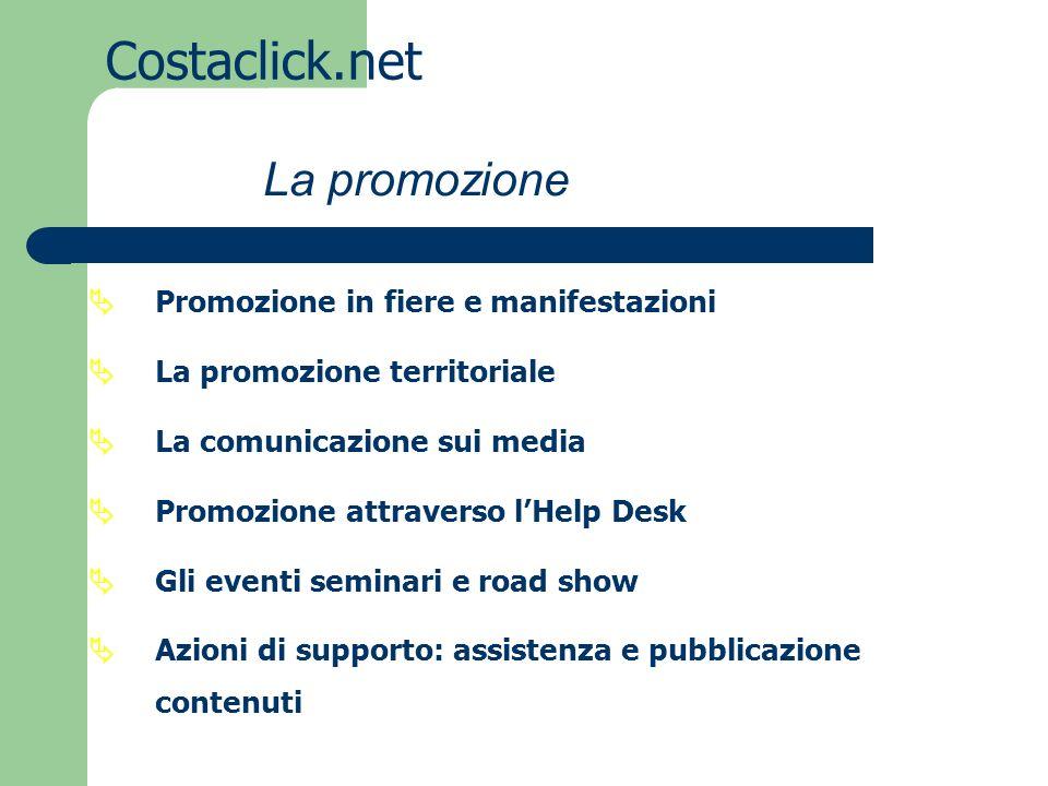 Costaclick.net Promozione in fiere e manifestazioni La promozione territoriale La comunicazione sui media Promozione attraverso lHelp Desk Gli eventi