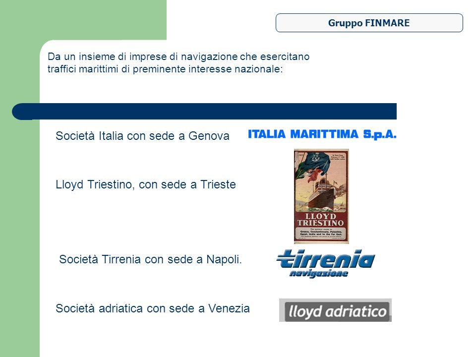Gruppo FINMARE Da un insieme di imprese di navigazione che esercitano traffici marittimi di preminente interesse nazionale: Società Italia con sede a