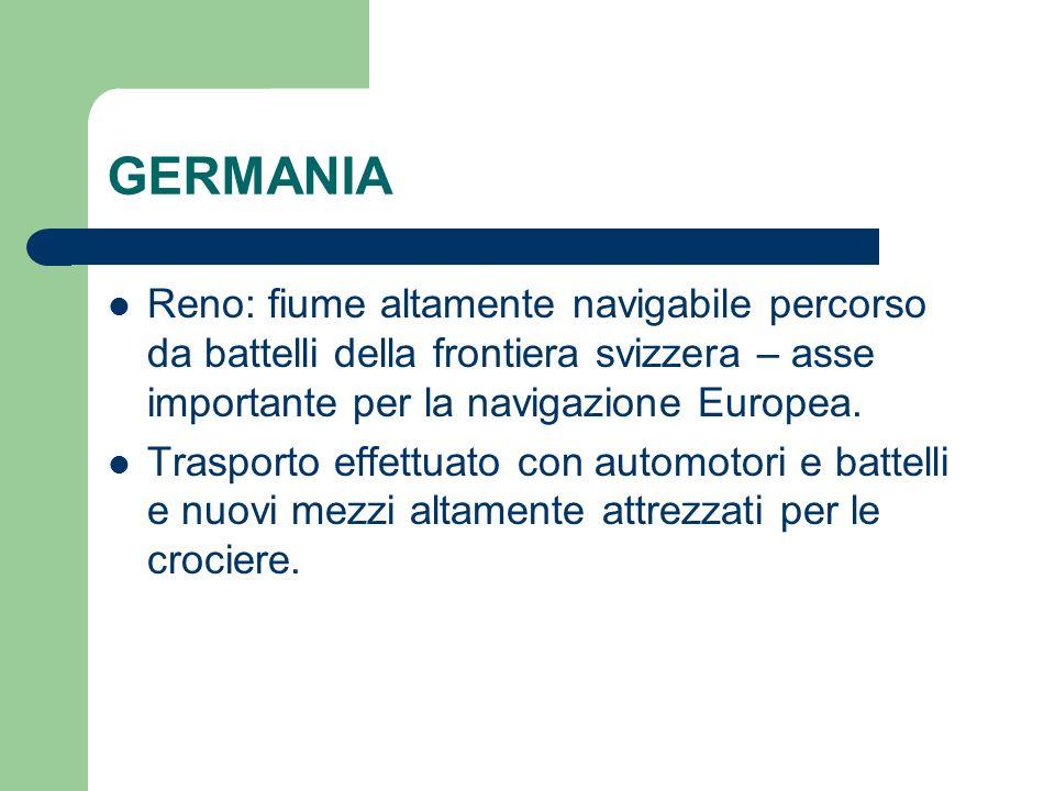 GERMANIA Reno: fiume altamente navigabile percorso da battelli della frontiera svizzera – asse importante per la navigazione Europea. Trasporto effett