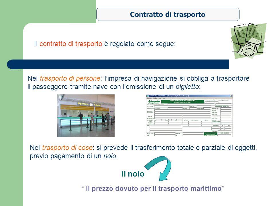 Contratto di trasporto Nel trasporto di cose: si prevede il trasferimento totale o parziale di oggetti, previo pagamento di un nolo. Il contratto di t
