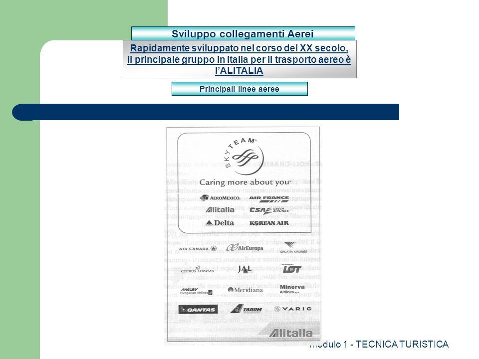 modulo 1 - TECNICA TURISTICA Rapidamente sviluppato nel corso del XX secolo, il principale gruppo in Italia per il trasporto aereo è lALITALIA Princip