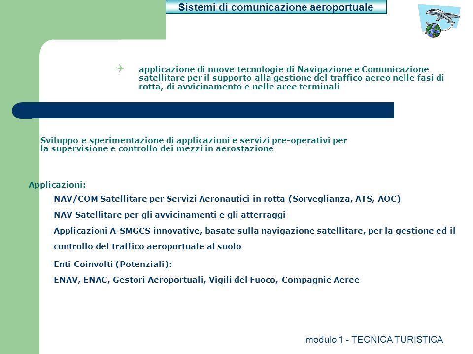 modulo 1 - TECNICA TURISTICA applicazione di nuove tecnologie di Navigazione e Comunicazione satellitare per il supporto alla gestione del traffico ae
