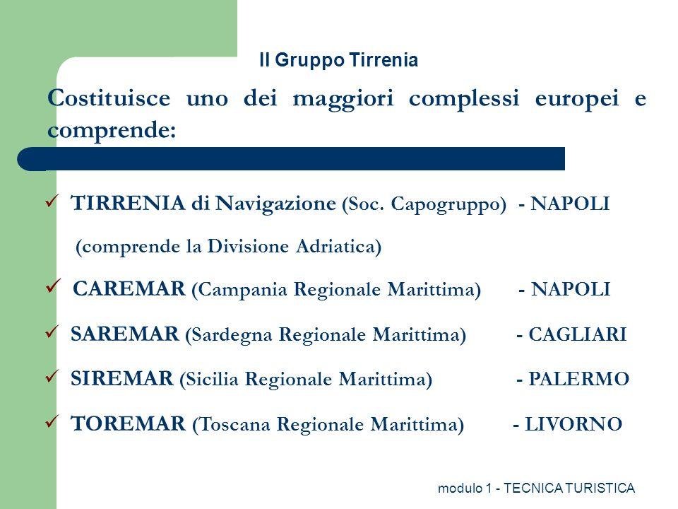 modulo 1 - TECNICA TURISTICA Il Gruppo Tirrenia TIRRENIA di Navigazione (Soc. Capogruppo) - NAPOLI (comprende la Divisione Adriatica) CAREMAR (Campani
