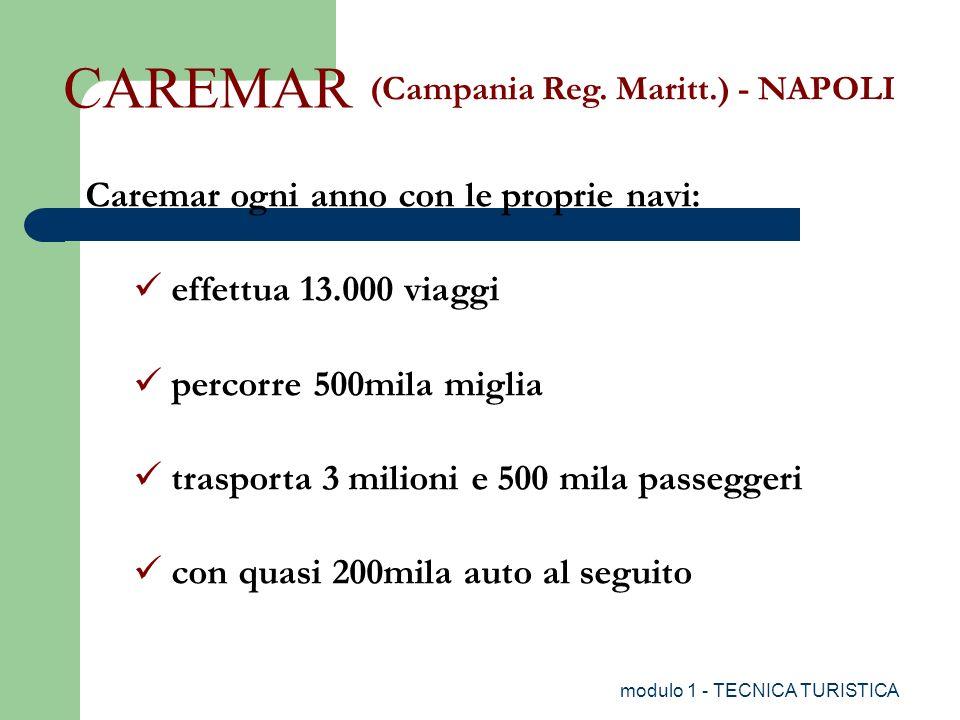 modulo 1 - TECNICA TURISTICA (Campania Reg. Maritt.) - NAPOLI CAREMAR Caremar ogni anno con le proprie navi: effettua 13.000 viaggi percorre 500mila m