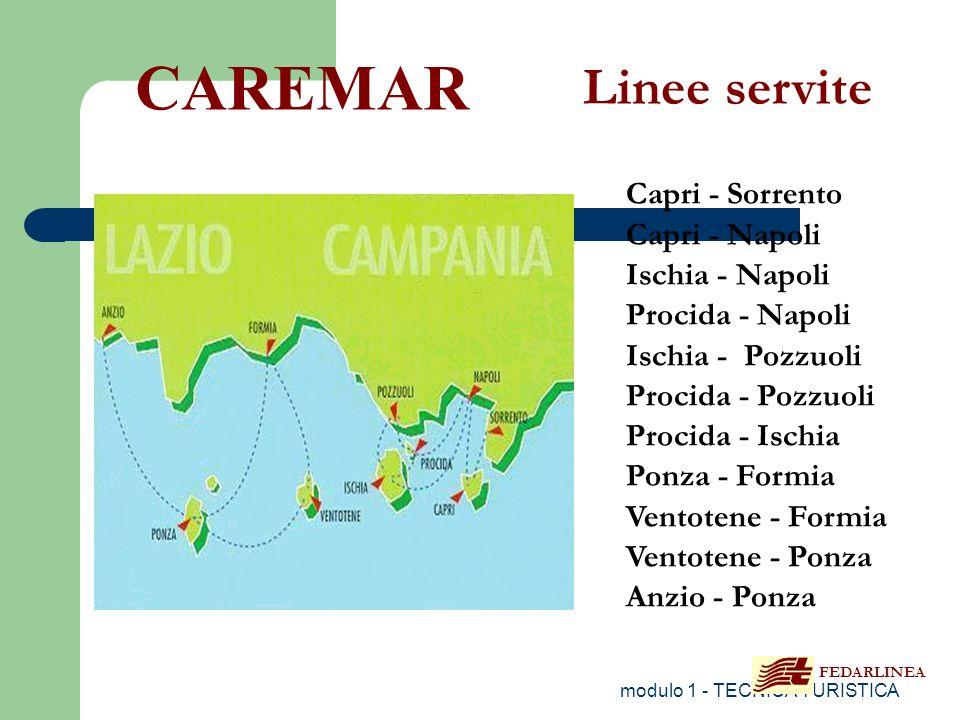 modulo 1 - TECNICA TURISTICA Capri - Sorrento Capri - Napoli Ischia - Napoli Procida - Napoli Ischia - Pozzuoli Procida - Pozzuoli Procida - Ischia Po