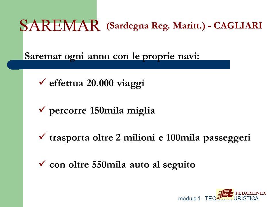modulo 1 - TECNICA TURISTICA SAREMAR (Sardegna Reg. Maritt.) - CAGLIARI Saremar ogni anno con le proprie navi: effettua 20.000 viaggi percorre 150mila