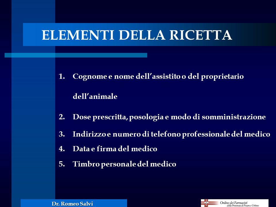 Dr. Romeo Salvi ELEMENTI DELLA RICETTA 1. Cognome e nome dellassistito o del proprietario dellanimale 2.Dose prescritta, posologia e modo di somminist