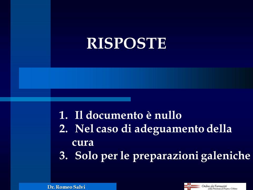 RISPOSTE 1. Il documento è nullo 2. Nel caso di adeguamento della cura 3. Solo per le preparazioni galeniche Dr. Romeo Salvi