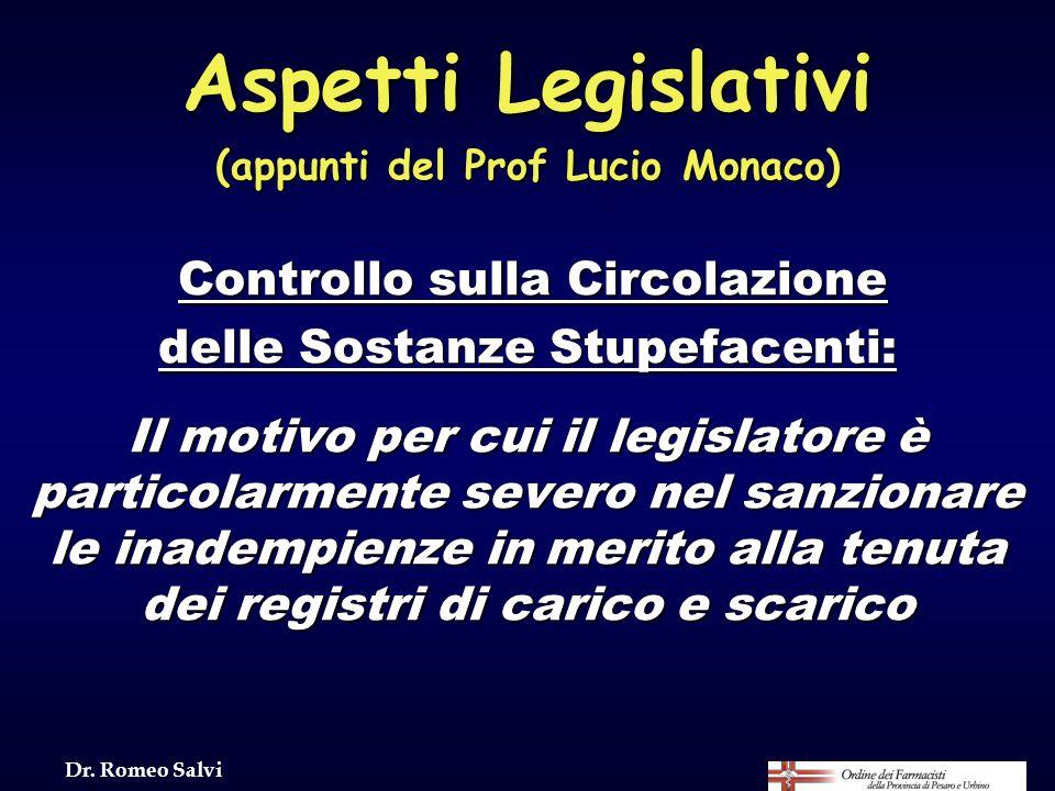 Aspetti Legislativi (appunti del Prof Lucio Monaco) Controllo sulla Circolazione delle Sostanze Stupefacenti: Il motivo per cui il legislatore è parti