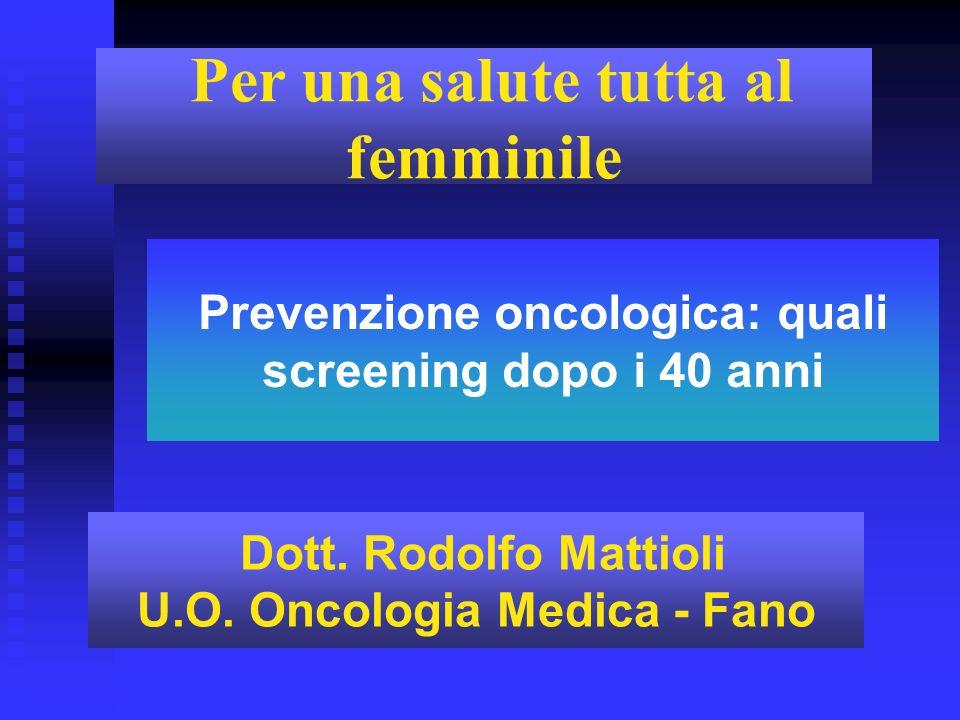 Prevenzione oncologica: quali screening dopo i 40 anni Per una salute tutta al femminile Dott. Rodolfo Mattioli U.O. Oncologia Medica - Fano
