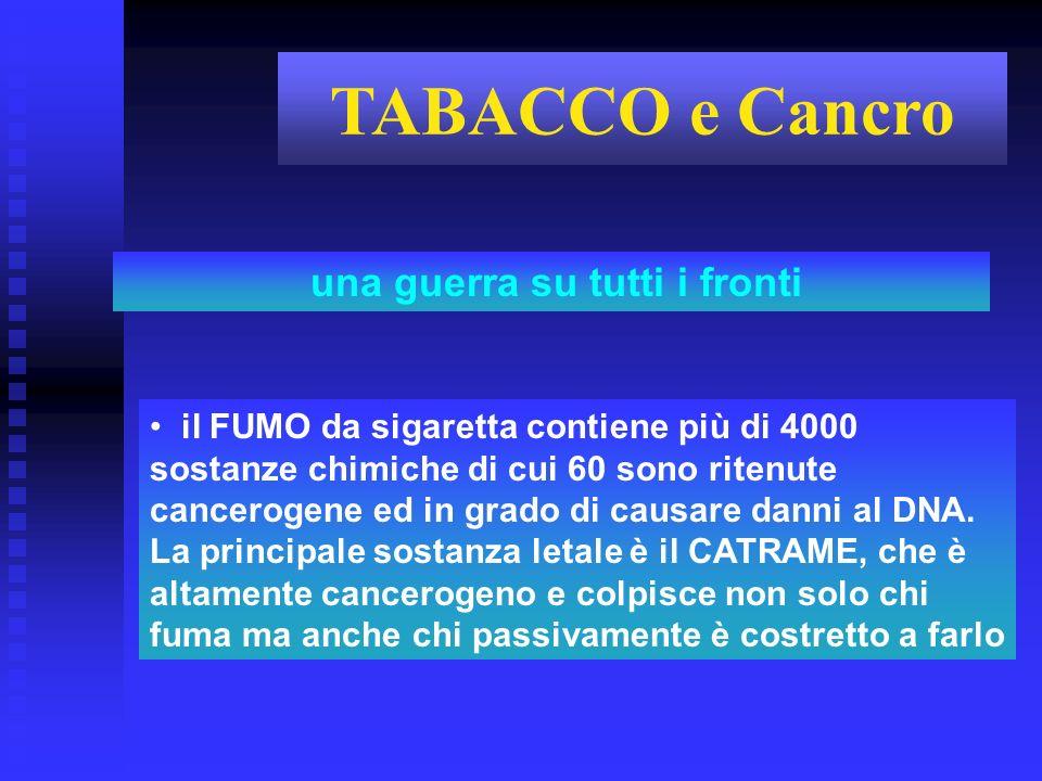 il FUMO da sigaretta contiene più di 4000 sostanze chimiche di cui 60 sono ritenute cancerogene ed in grado di causare danni al DNA. La principale sos