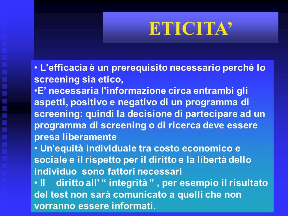 L'efficacia è un prerequisito necessario perché lo screening sia etico, E necessaria l'informazione circa entrambi gli aspetti, positivo e negativo di