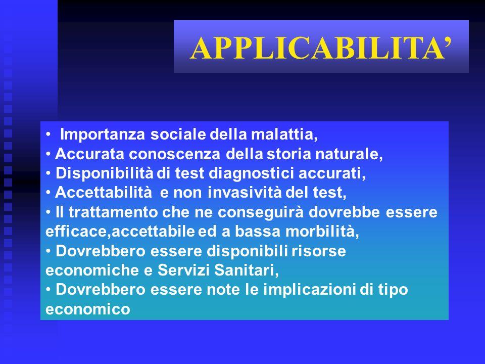 Importanza sociale della malattia, Accurata conoscenza della storia naturale, Disponibilità di test diagnostici accurati, Accettabilità e non invasivi