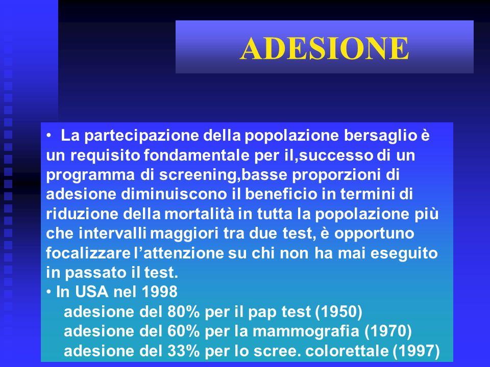 La partecipazione della popolazione bersaglio è un requisito fondamentale per il,successo di un programma di screening,basse proporzioni di adesione d