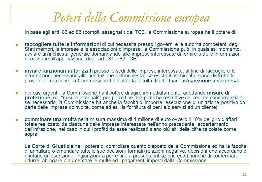 33 Poteri della Commissione europea In base agli artt.