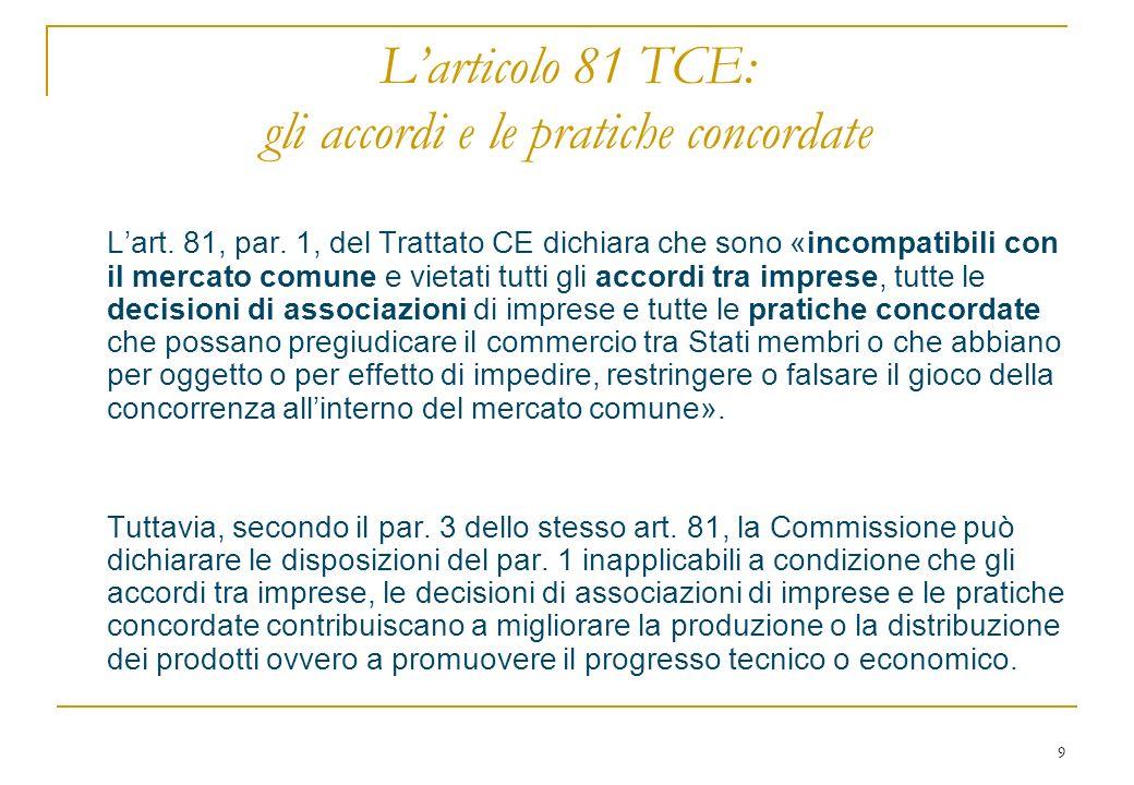 9 Larticolo 81 TCE: gli accordi e le pratiche concordate Lart.