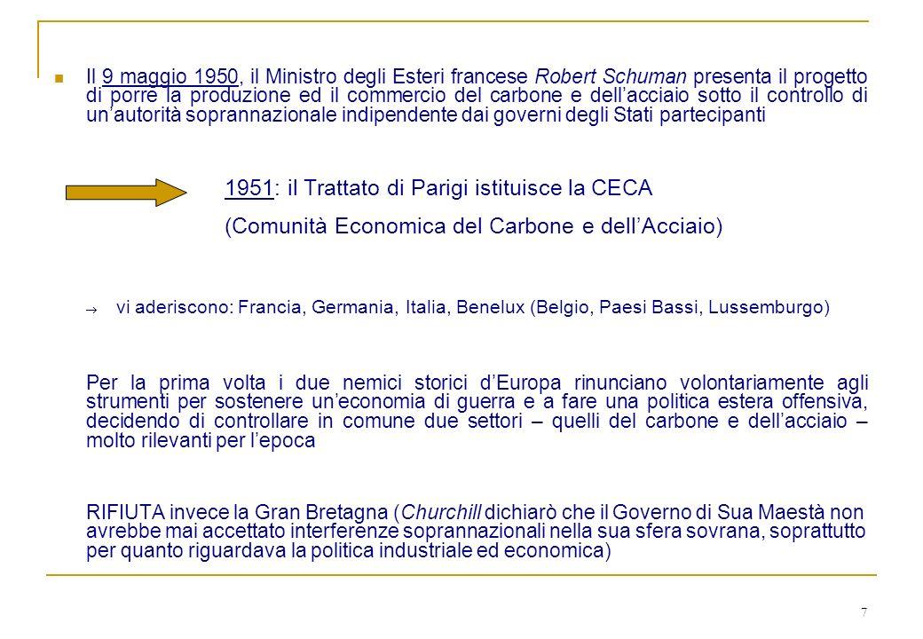 7 Il 9 maggio 1950, il Ministro degli Esteri francese Robert Schuman presenta il progetto di porre la produzione ed il commercio del carbone e dellacc