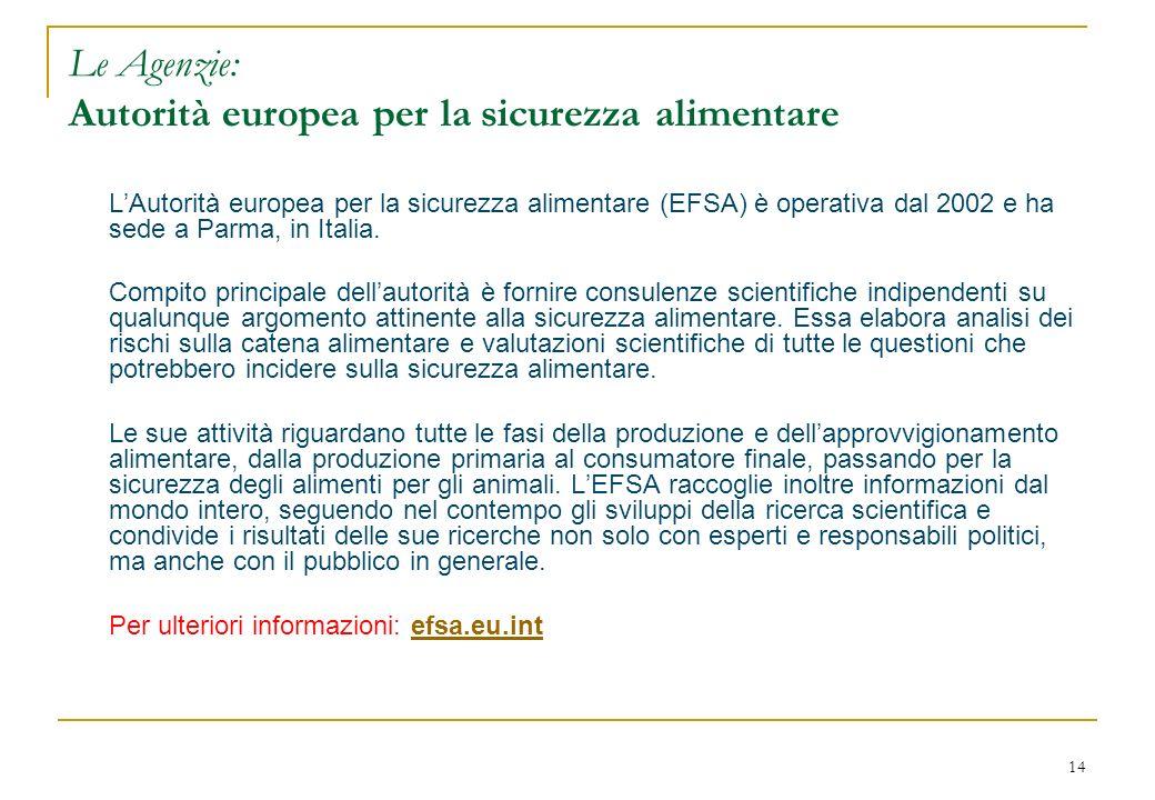 14 Le Agenzie: Autorità europea per la sicurezza alimentare LAutorità europea per la sicurezza alimentare (EFSA) è operativa dal 2002 e ha sede a Parm