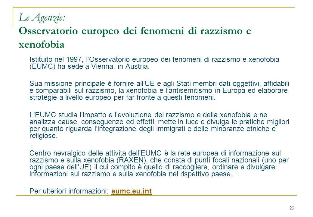 23 Le Agenzie: Osservatorio europeo dei fenomeni di razzismo e xenofobia Istituito nel 1997, lOsservatorio europeo dei fenomeni di razzismo e xenofobia (EUMC) ha sede a Vienna, in Austria.