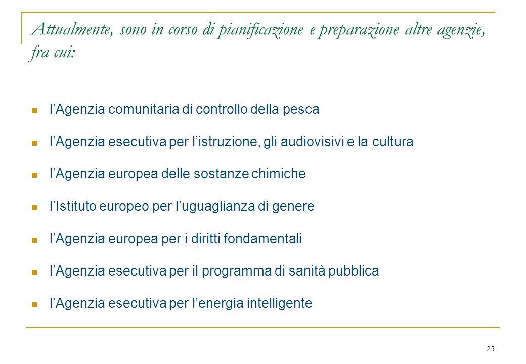 25 Attualmente, sono in corso di pianificazione e preparazione altre agenzie, fra cui: lAgenzia comunitaria di controllo della pesca lAgenzia esecutiva per listruzione, gli audiovisivi e la cultura lAgenzia europea delle sostanze chimiche lIstituto europeo per luguaglianza di genere lAgenzia europea per i diritti fondamentali lAgenzia esecutiva per il programma di sanità pubblica lAgenzia esecutiva per lenergia intelligente