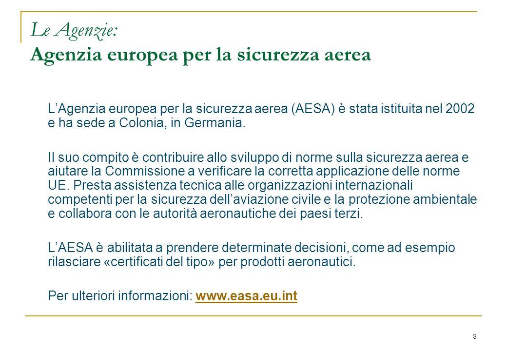 8 Le Agenzie: Agenzia europea per la sicurezza aerea LAgenzia europea per la sicurezza aerea (AESA) è stata istituita nel 2002 e ha sede a Colonia, in Germania.