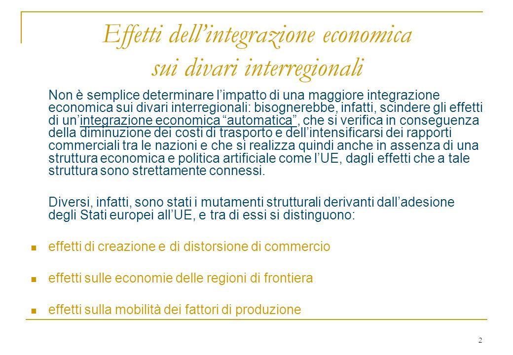 3 Effetti di creazione … I governi nazionali possono utilizzare dazi ed altre misure protezionistiche per intervenire deliberatamente in favore di determinate regioni.