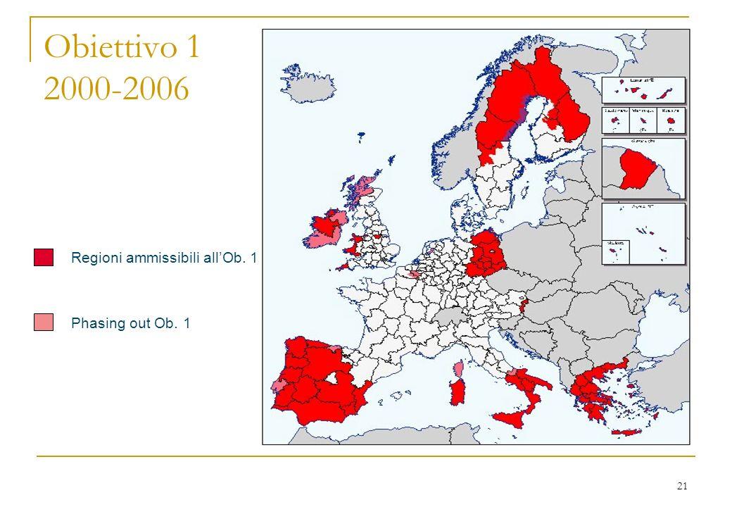 21 Obiettivo 1 2000-2006 Regioni ammissibili allOb. 1 Phasing out Ob. 1