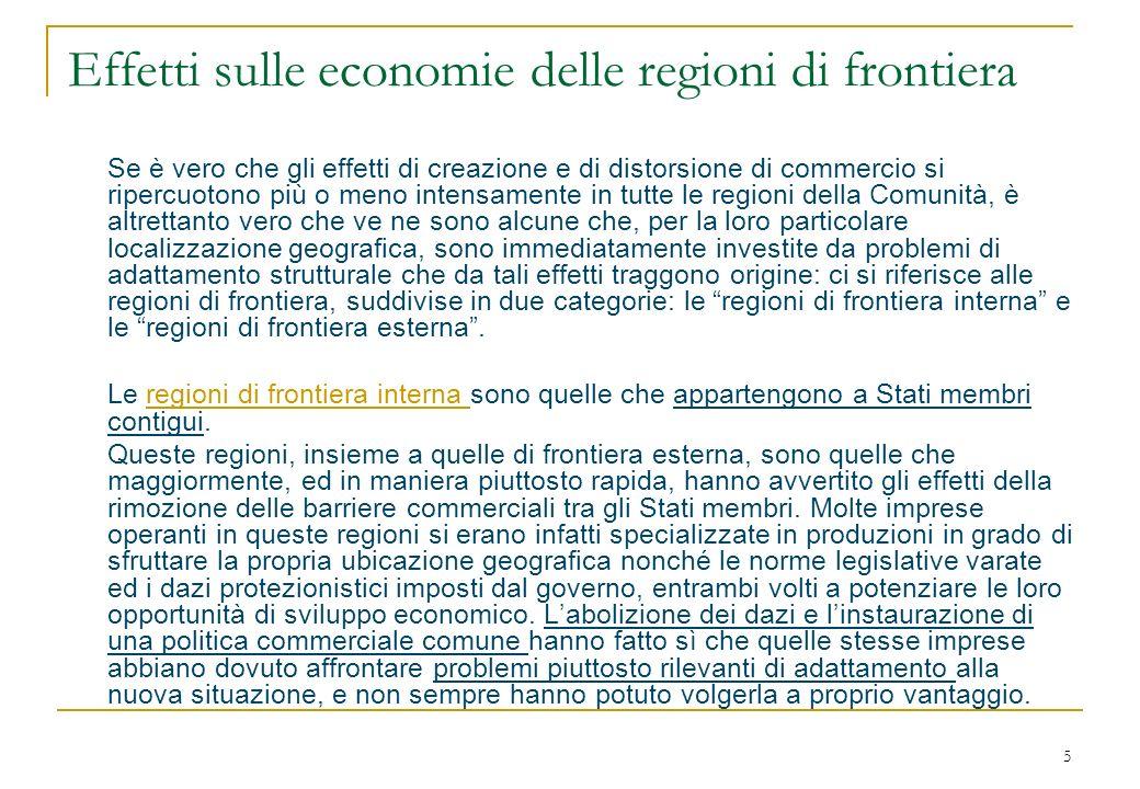 6 … segue Le regioni di frontiera esterna sono invece quelle situate allinterno di Stati comunitari confinanti con Stati che non fanno parte dellUE.